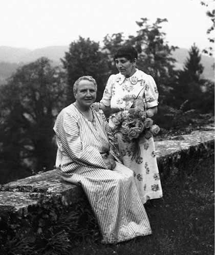 Gertrude Stein and Alice B. Toklas on the terrace at Bilignin, 1936.