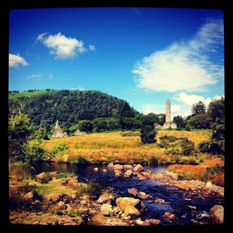 Stream and Sun at Glendalough